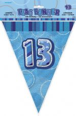 Blue Glitz '13th' Birthday Flag Banner